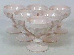 Lot 6 VTG Jeanette Shell Pink Milk Glass Thumbprint Champagne Sherbet Glasses