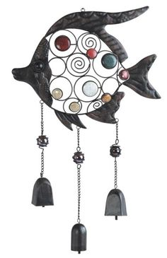Metal Fish Wind Chime Display with Colored Stones