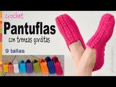 Zapatos o pantuflas UNISEX con trenzas gorditas a crochet en 9 tallas - Tejiendo Perú - YouTube