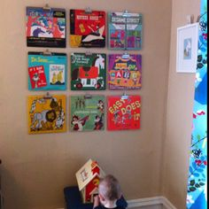 Vintage record wall using office clips