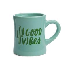 "Choosing to stay positive is the way to go. Good vibes only. Material: Ceramic Style: Diner Mug Color: Mint Dimensions: 4"" H x 5"" Dia (w/handle) Volume: 10 Oz *We donate a portion of each purchase to"
