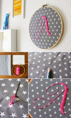 Gingered Things, DIY, embroid, decoration, pink, girl, kids, A, Sticken, Stickrahmen, Buchstaben, Kinderzimmer, Deko