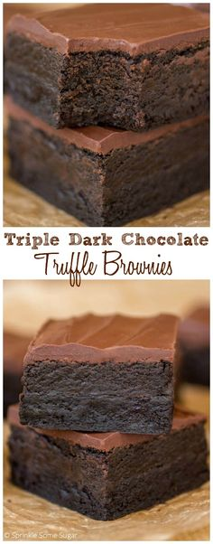 Triple Dark Chocolate Truffle Brownies Hands down THE BEST recipe on my site Deep dark chocolate brownies with a delicious Oreo truffle layer topped with a soft layer of. 13 Desserts, Delicious Desserts, Dessert Recipes, Yummy Food, Cake Recipes, Healthy Food, Trifle Desserts, Baking Desserts, Bon Dessert
