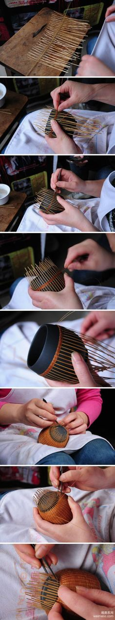 Hand-woven bamboo utensils jar to coat fine bamboo packaging