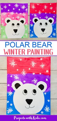 Kids will have fun making this cute and colorful polar bear winter painting using a mixed media approach. Step by step easy tutorial included. #projectswithkids #winterart #paintingideas