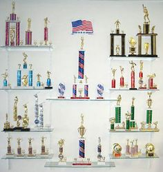 J & S Trophy and Engraving - display idea for Jakob's trophies