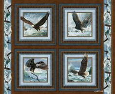 Quest of the Hunter Eagle Flug Baumwolle Stoff Wild von weiselect, $7.95
