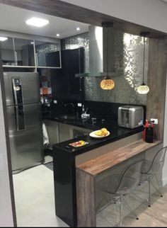 Super home renovation kitchen layout interior design ideas Kitchen Layout Interior, Kitchen Bar Design, Modern Kitchen Interiors, Kitchen Cabinets Decor, Home Decor Kitchen, Home Interior Design, Home Kitchens, Home Design, Tiny Kitchens