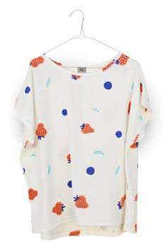 ladies top featuring juicy summer print from the flying elizabeth storybook, that has inspired our entire collection.