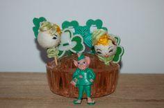 Vintage Plastic St.Patrick's Day Cake Toppers by JunkyardElves