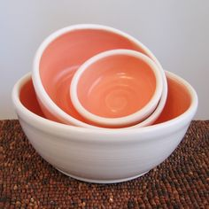 Must try to make these!!!  Coral Nesting Bowls Pink Stoneware Pottery Bowls by KarinLorenc
