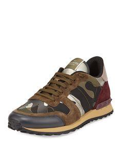 Valentino Rockrunner Camo-Print Trainer Sneaker, Multi