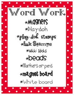 Word Work made easy...click for quick ideas and management