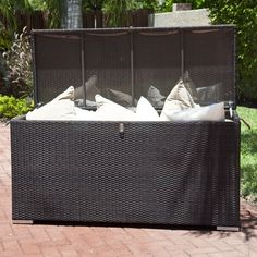 This Home Infatuation Wicker Outdoor Storage Box Is Perfect For The Patio  Or Deck For Storing Cushions Or Pool Supplies And Can Also Be Used As A  Bench.