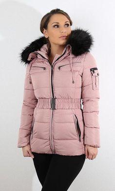 Ruched Waist Fur Trim Puffa Coat Winter Coats, Winter Jackets, Puffer Coat With Fur, Cute Coats, Down Coat, Fall Trends, Puffer Jackets, Fur Trim, Fashion Outfits