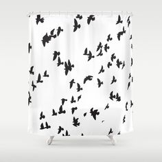 SALE: Off Shower Curtains & more by Bitart on Today! Buy Happy Birds Shower Curtain now! Trendy modern black and white shower curtain with gorgeous animal print. Modern Shower Curtains, Bathroom Curtains, Bird Shower Curtain, Black And White Tiles, Black Wood, Purple Bedrooms, White Rooms, Modern Room, Decorating Blogs