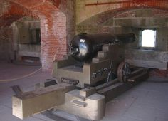 Cannon from haunted historic fortress in Fort Delaware
