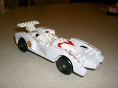 Pinewood Derby car - dowel rods used to mimic lego pieces