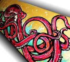 Red Mist Octopus Skateboard Painting