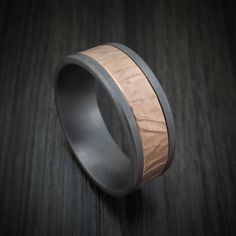 Tantalum and Textured Rose Gold Ring by Ammara Stone Rose Gold Fabric, Benchmark Rings, Rugged Look, Flat Shapes, Bluish Gray, Industrial Metal, Gold Rings, Rings For Men, Jewelry Design