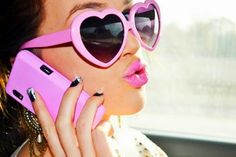 Love the pink heart glasses, pink lips, pink phone case, and sparkly nails Heart Shaped Glasses, Heart Glasses, Pink Love, Pretty In Pink, Hot Pink, Look Retro, Pink Sunglasses, Sunnies, Sunglasses Online