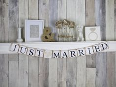 Just Married Banner Just Married Sign  by WeddingBannerLove