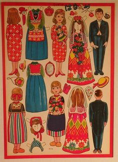 Sheet of 1950's Vintage Japanese Paper Dolls Man and Two Woman in Dutch Dress…