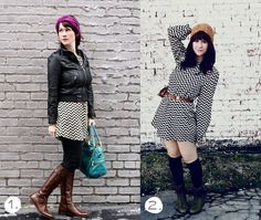 I like 1 much better than 2, but here's two ways to style a chevron dress