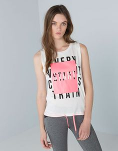 Bershka sport T-shirt with drawstring hem. Discover this and many more items in Bershka with new products every week Girls Fashion Clothes, Girl Outfits, Fashion Outfits, Clothes For Women, New T Shirt Design, Shirt Designs, Fit Women, Women Wear, Kids Girls Tops