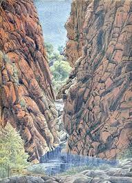 Works on Paper - Albert Namatjira - Page 2 - Australian Art Auction Records Aboriginal History, Aboriginal Culture, Aboriginal Art, Australian Painting, Australian Artists, Watercolor Landscape, Watercolor Paintings, Watercolours, Indigenous Art