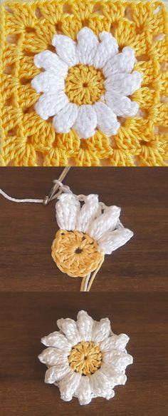 Crochet Daisy Flower Granny Square Crochet Daisy Flower Granny Square Learn the basics of how to cro Granny Square Crochet Pattern, Crochet Squares, Crochet Granny, Crochet Blanket Patterns, Crochet Stitches, Crochet Daisy, Crochet Flowers, Gilet Crochet, Knit Crochet
