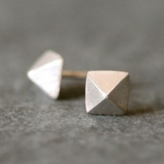 Low Pyramid Stud Earrings in Sterling by MichelleChangJewelry, $48.00