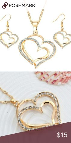New Double Heart Necklace And Earrings Gold Plated Jewelry Necklaces
