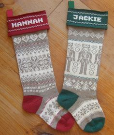 Pair of Personalized Christmas Stockings, two tone with color accents