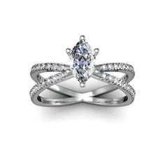 1.25ct Marquise Split Band Engagement Ring Crafted In 14K White Gold (I-J, I1-I2) (Size 8.5), Women's, White I-J (check)
