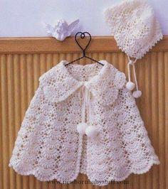 Crochet Baby Dress Crochet For Children: White Baby Cape - Free Pattern ...