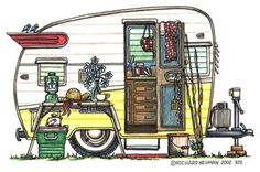 FREE VINTAGE CAMPER CLIP ART | Travel Trailer Art & gifts for those enjoying the RV lifestyle - RV ...