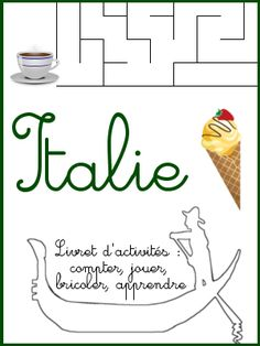 Nombreuses activités sur l'Italie pour les 3-6 ans. la Joconde, des glaces, du graphisme, etc.