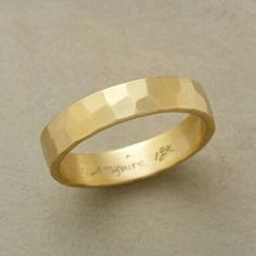 GLINTING GOLD BAND -- Gentle irregularities born of a jeweler's hammer convey a chiseled effect, bouncing subtleties of light this way and that. Sarah McGuire's understated design is handmade in USA of matte, recycled gold. Whole sizes 5 to Gold Band Ring, Gold Bands, Band Rings, Stoneless Engagement Ring, Matte Gold, Anniversary Rings, Wedding Bands, Wedding Ring, Jewels