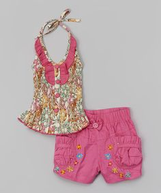 Look at this Lele for Kids Pink Floral Halter Top & Shorts - Toddler & Girls on #zulily today!