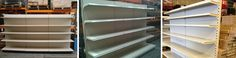 Used wall shop shelving available from Shelving4Shops.co.uk