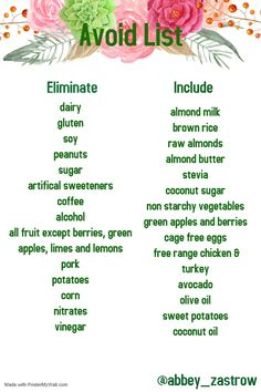 list of items to avoid and to include during your 30 days to healthy living! #arbonne