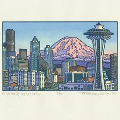 """My illustration of the Space Needle at sunset, Seattle, WA. Letterpress printed and hand-watercolored as part of the """"Local Conditions"""" series about Mt. Rainier."""