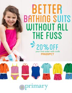 Not all kids swimsuits need sparkly mermaids. Try Primary's NEW swim line for babies and kids in awesome colors without all the fuss. All swim items are $8-20, and shipping is always FREE! Plus, enjoy 20% off your first order with code PIN20PCT