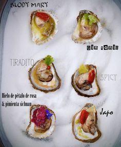 Ostras marinadas con cocktails , con sabores y texturas distintas, marcan la diferencia en este aperitivo colorido y singular ...