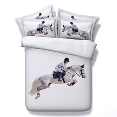 100% Cotton High Quality Bedding Sets 3d Equestrian Events Pattern Duvet Cover Running Horse Bed Linen 3/4PC Bedding Package