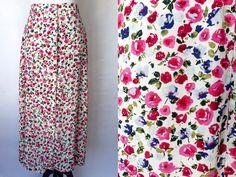Vintage 1980s Skirt | Floral Skirt | Maxi Skirt | Vintage Small Skirt | Size Small | VTG 80s | Flirty Skirt | Woolrich | Floral print skirt