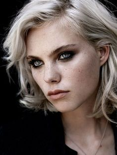 white hair with dark freckled features - Google Search