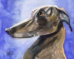 Greyhound Art Print of Original Watercolor Painting - 11x14 Dog Art. $24.50, via Etsy.