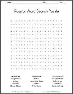 Russia Geography Word Search Puzzle